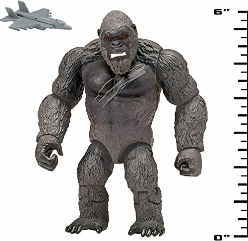"""51TXgIXJ3eS. AC  - Godzilla vs. Kong 2021 Bundle of 2 Monsterverse Movie Series 6"""" Action Figures Godzilla with Radio Tower and King Kong with Fighter Jet"""