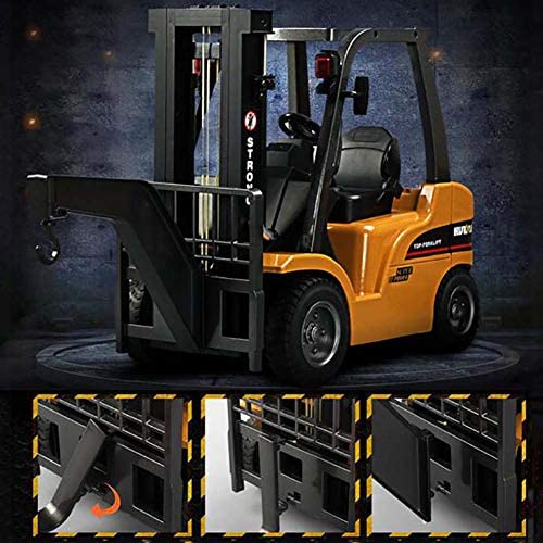 51TrMCrJ8tL. AC  - FXQIN Remote Control Forklift Construction Trucks Toys for Kids and Adults 1:10 Scale 8 Channel RC Forklift with LED Lights and Pallet Professional Engineering Vehicle Toys, Yellow