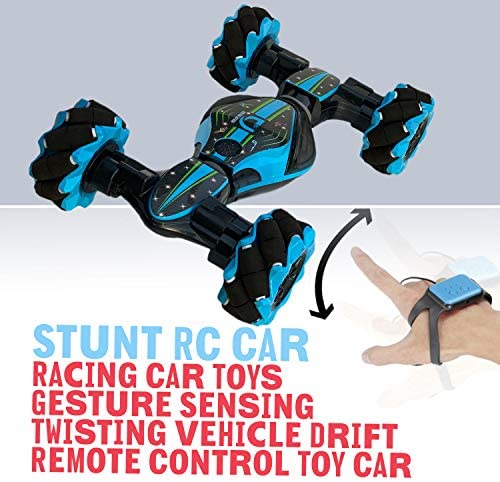 51U5cmnx7qL. AC  - Boxgear Gesture Sensing RC Stunt Car with Off-Road, Four-Wheel Drive, Sports Mode, 40 Min Standby Suitable for Any Terrain, 2.4G Gesture Controlled Double-Sided Remote-Control Car Toy for Kids, Blue