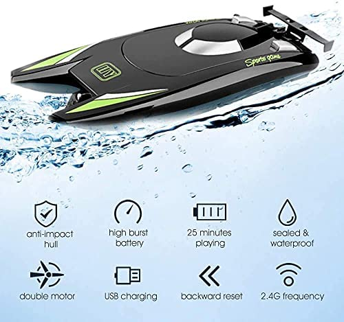 51UEyyCmsLS. AC  - RC Boat 2.4Hz Remote Control Boats for Kids and Adults 20+ MPH High Speed Ship Dual Motors Self-Righting Racing Boat Pools and Lakes Toys for 6 7 8 Year Old Boys Gifts (Black)