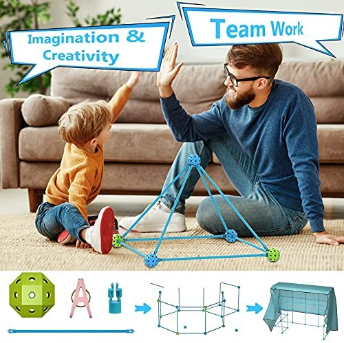 51VZ1OHi4xS. AC  - IROO Kids Fort Building Kit-150 Pieces DIY Building Castles Tents & Tunnels Toy with Blanket for Boys Girls-5 6 7 8 9 10 11 12 13-Portable Educational Learning Set for Indoor Outdoor Play