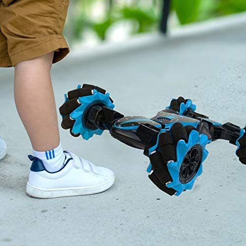 51Vh fBtkUL. AC  - Boxgear Gesture Sensing RC Stunt Car with Off-Road, Four-Wheel Drive, Sports Mode, 40 Min Standby Suitable for Any Terrain, 2.4G Gesture Controlled Double-Sided Remote-Control Car Toy for Kids, Blue
