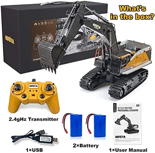 51WCbFHV9sS. AC  - Remote Control Excavator Toy 1/14 Scale RC Excavator, 22 Channel Upgrade Full Functional Construction Vehicles Rechargeable RC Truck with Metal Shovel and Lights Sounds
