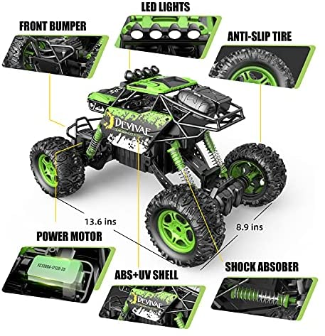 51WSicRuQAS. AC  - DEVIVAE RC Cars 2059 Remote Control Car for Adults Kids, 1:12 Scale 15Km/h All Terrain Monster Trucks 4WD Off-Road 2.4GHz Rock Crawler with 80Mins Play, Vehicle Toy Ideal Gift for 6 7 8 9 10 Boy Girl