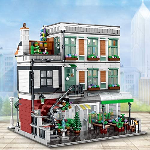 51Xa9G88C4L. AC  - PHYNEDI Street View Center Flower Shop Garden Centre Bricks Model Compatible with Lego, DIY Large Architecture Educational Building Block Assembly Small Particle Construction Toy (3,648 Pieces)