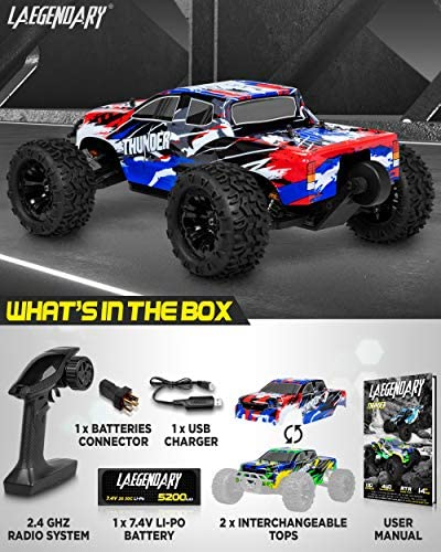 51Xd8+ZnKZL. AC  - 1:10 Scale Brushless RC Cars 65 km/h Speed - Boys Remote Control Car 4x4 Off Road Monster Truck Electric - All Terrain Waterproof Toys for Kids and Adults - 2 Body Shells + Connector for 30+ Mins Play