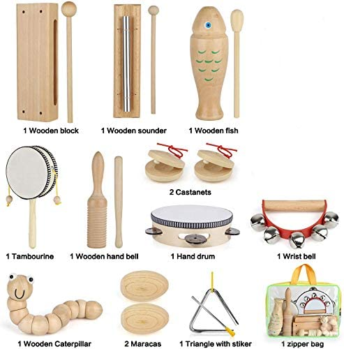 51ZiQsEGxRL. AC  - Kids Toddler Musical Instruments, Toddlers 100% Natural Wooden Music Percussion Toy Sets for Childrens Preschool Educational Age3-8 Early Learning, Musical Toys with Bags Boys and Girls