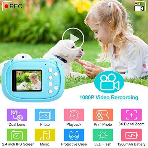 """51ZjcSfVElL. AC  - Instant Camera for Kids Camera for Boys 40MP Digital Camera for Kids Selfie Video Camera with Print Paper, 2.4"""" Screen Toddler Camera Children Toy Camera for Kids 3 4 5 6 7 8-10 12, 32G TF Card, Blue"""