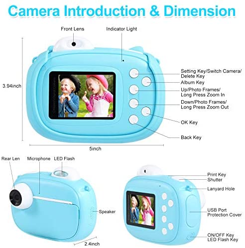 """51aarAGdO6L. AC  - Instant Camera for Kids Camera for Boys 40MP Digital Camera for Kids Selfie Video Camera with Print Paper, 2.4"""" Screen Toddler Camera Children Toy Camera for Kids 3 4 5 6 7 8-10 12, 32G TF Card, Blue"""