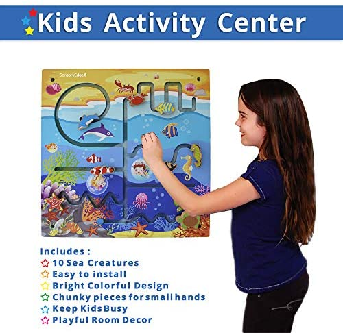 51apXyvutdL. AC  - Ocean Adventure Wall Toy Activity Center – Sensory Busy Board for Fine Motor Skills - Mounted Wall Decor for Toddlers & Kids Bedrooms, Playrooms, Doctor's Offices & Daycare - Gift for Boys & Girls