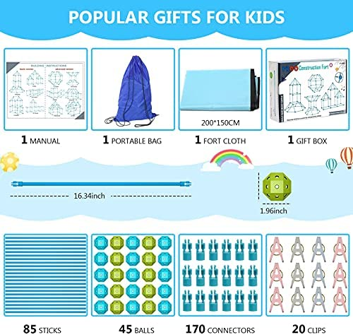 51buryhmdfS. AC  - IROO Kids Fort Building Kit-150 Pieces DIY Building Castles Tents & Tunnels Toy with Blanket for Boys Girls-5 6 7 8 9 10 11 12 13-Portable Educational Learning Set for Indoor Outdoor Play