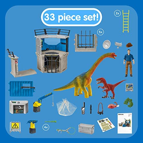 51by50G36LL. AC  - SCHLEICH Toy Dinosaur Research Station 33-Piece Playset for Kids Ages 4-12