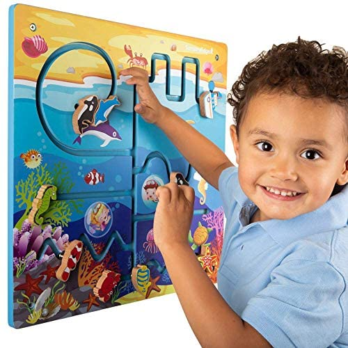 51c3BwQIMJL. AC  - Ocean Adventure Wall Toy Activity Center – Sensory Busy Board for Fine Motor Skills - Mounted Wall Decor for Toddlers & Kids Bedrooms, Playrooms, Doctor's Offices & Daycare - Gift for Boys & Girls