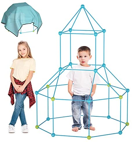 51clONtGlxS. AC  - IROO Kids Fort Building Kit-150 Pieces DIY Building Castles Tents & Tunnels Toy with Blanket for Boys Girls-5 6 7 8 9 10 11 12 13-Portable Educational Learning Set for Indoor Outdoor Play