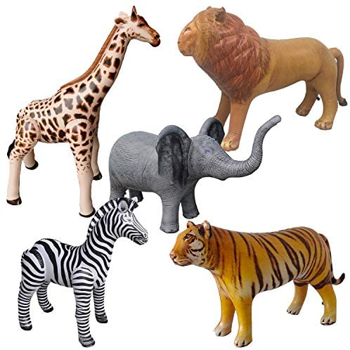 51d0CYHJIpL. AC  - Airniture Jet Creations Safari Inflatable Plush Stuffed Animal 5 Pack Giraffe Zebra Elephant Lion Tiger for Pool, Party Decoration, Size up to 40 inch, AIR-GZELT5, 36, Multi