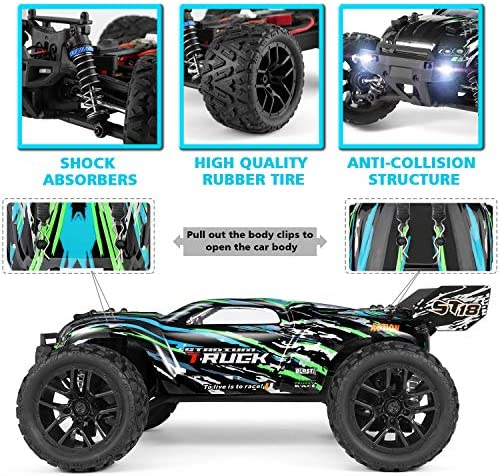 51dXCqElabL. AC  - HAIBOXING RC Cars Hailstorm, 36+KM/H High Speed 4WD 1:18 Scale Electric Waterproof Truggy Remote Control Off Road Monster Truck with Two Rechargeable Batteries, RTR ALL Terrain Toys for Kids and Adult