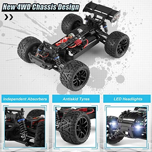 51f6cXNqpsL. AC  - HAIBOXING RC Cars Hailstorm, 1:18 Scale 4WD High Speed 36+ km/h Remote Control Car Off Road Monster RC Truck with 2 Batteries 40 mins Play, Waterproof RC Toys Truggy Gifts for Kids and Adult