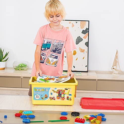 51fGIOOtRdS. AC  - burgkidz Gear Building Blocks Creative STEM Toys Learning Educational Engineering Construction Building Toys Set with Storage Box, 174 Piece Gears Building Set Gifts for Boys Girls