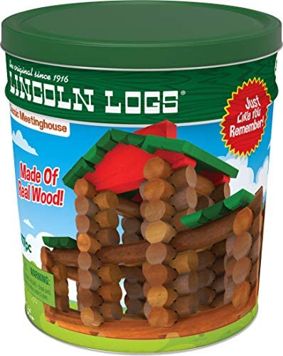 51fb3GLVP1L. AC  - LINCOLN LOGS – Classic Meetinghouse - 117 Parts - Real Wood Logs - Ages 3+ - Collectible Tin - Best Retro Building Gift Set for Boys/Girls – Creative Construction Engineering – Preschool Education Toy