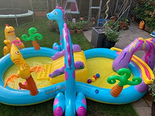 51fvrKNQl8L. AC  - Inflatable Kiddie Pool with Water Slide - 119in X 90in X 44in Dinosaur Inflatable Play Center, Above Ground Pool, Water Slides for Kids Backyard, Kids Pool Outdoor Toys w/ Splash for Ages 2+ Toddler