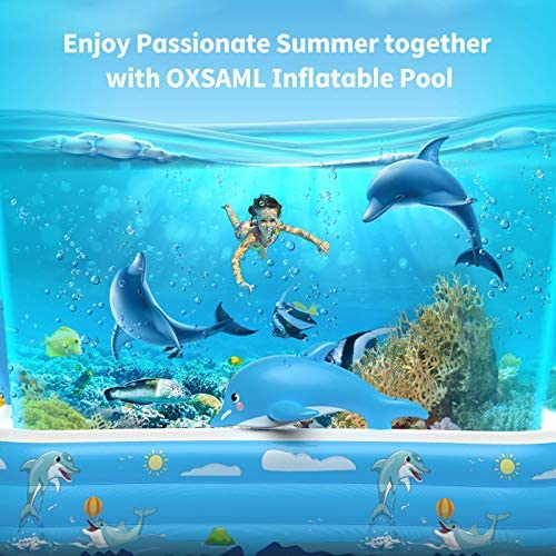 """51grQBV8Q4L. AC  - Inflatable Pool for Kids Family Oxsaml 98"""" x 71"""" x 22 """" Kiddie Pool with Splash, Swimming Pools Above Ground, Backyard, Garden, Summer Water Party"""