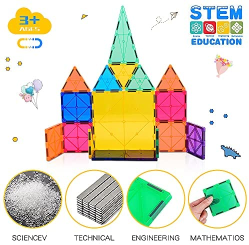 51hEuudFC+S. AC  - Magnetic Building Blocks Game Toy, 75 Pcs 3D Magnetic Tiles Construction Playboards Kit Develop Kids Imagination, Inspiration and Fine Motor Skills in Children Educational Toys for Age 3 - 8 Year-Old
