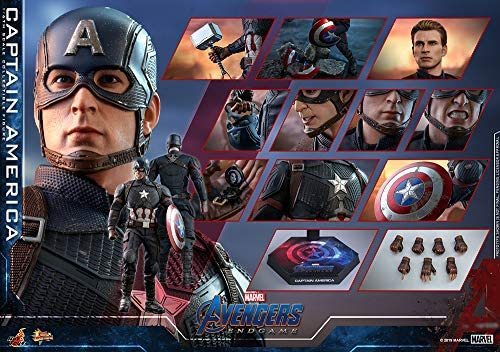 51hPp5xFSxL. AC  - Hot Toys Movie Masterpiece Series MMS536 Captain America Avengers: Endgame End Game Sixth Scale 1/6 (2021) Collectible Chris Evans Action Figure