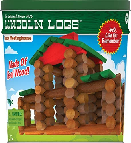 51hl c1RYVL. AC  - LINCOLN LOGS – Classic Meetinghouse - 117 Parts - Real Wood Logs - Ages 3+ - Collectible Tin - Best Retro Building Gift Set for Boys/Girls – Creative Construction Engineering – Preschool Education Toy
