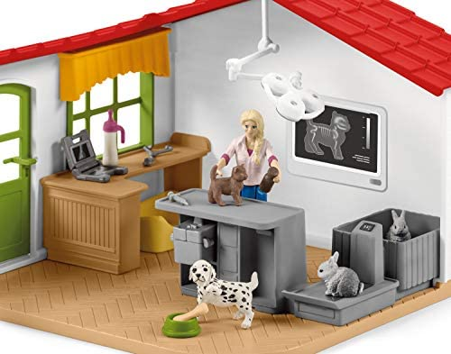 51iEgrWpA7L. AC  - Schleich Farm World 27-piece Vet Practice Playset with Animal Toys for Kids Ages 3-8