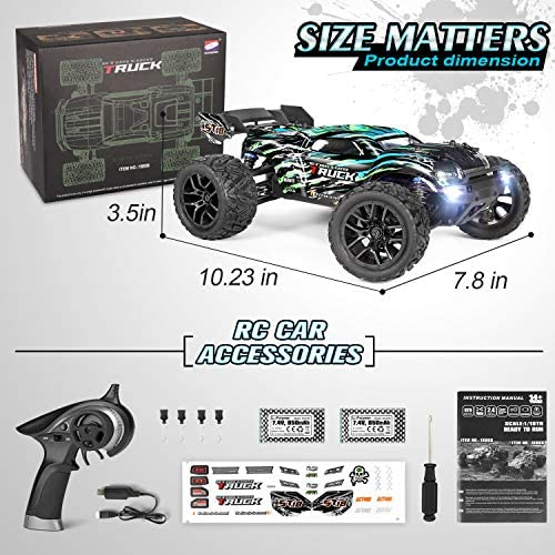 51j7c9ZDz6L. AC  - HAIBOXING RC Cars Hailstorm, 1:18 Scale 4WD High Speed 36+ km/h Remote Control Car Off Road Monster RC Truck with 2 Batteries 40 mins Play, Waterproof RC Toys Truggy Gifts for Kids and Adult