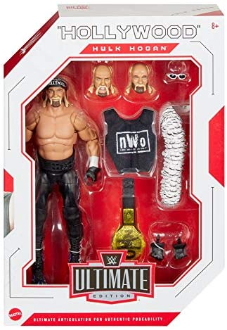 51jAeCrZVuL. AC  - WWE Ultimate Edition Wave 7 Hollywood Hogan Action Figure 6 in with Interchangeable Entrance JacketLanternExtra Head and Swappable Hands for Ages 8 Years Old and Up