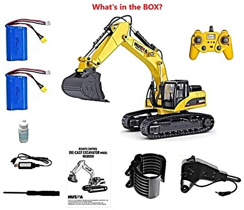 51jJ4OjUVHL. AC  - HUINA 1580 V4 Full Metal RC Excavator 23 Channel 2.4GHz Digger Construction Vehicle Hobby Professional Grade Remote Control Tractor Toy Smoke LED Lights and Sounds - 2 Rechargeable Batteries