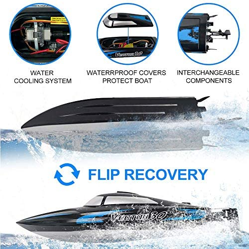 51jzSuUEN2L. AC  - RC Boat, 2.4Ghz Remote Control Boat for Pools and Lakes, 4 Channels Fast Racing Boat with 30+KPH Speed Boat Toys for Kids and Adults (Blue)