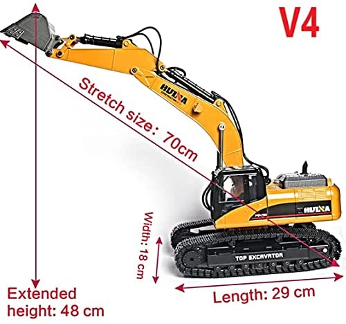 51lDGie+vKS. AC  - HUINA 1580 V4 Full Metal RC Excavator 23 Channel 2.4GHz Digger Construction Vehicle Hobby Professional Grade Remote Control Tractor Toy Smoke LED Lights and Sounds - 2 Rechargeable Batteries