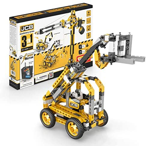 51lNoQYE25L. AC  - Engino Machinery Toys Tall Crane Motorized - 3-in-One Build 3 Iconic Machinery Models A Creative Engineering Kit, Multicolor, 49x6.9x33cm