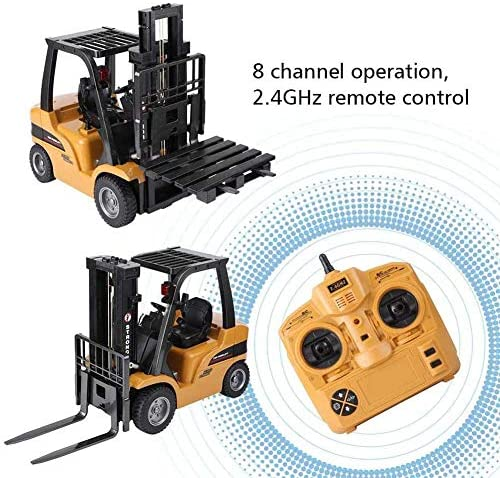 51mCi1RIZCL. AC  - FXQIN Remote Control Forklift Construction Trucks Toys for Kids and Adults 1:10 Scale 8 Channel RC Forklift with LED Lights and Pallet Professional Engineering Vehicle Toys, Yellow