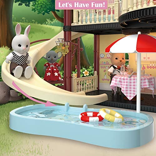 51nBA0qc7VL. AC  - MITCIEN Dollhouse Kit Playset Little Critters Bunny Dolls for Girls with Swimming Pool and Slideside Family Toys for Toddler 3 4 5 6 Year Old Girl