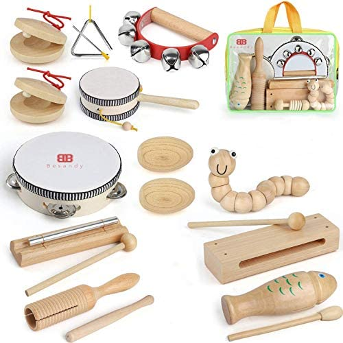 51nGw+hYrVL. AC  - Kids Toddler Musical Instruments, Toddlers 100% Natural Wooden Music Percussion Toy Sets for Childrens Preschool Educational Age3-8 Early Learning, Musical Toys with Bags Boys and Girls