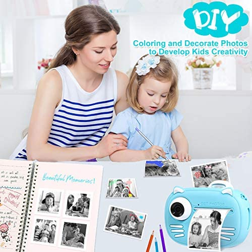 """51nVpdFFpNL. AC  - Instant Camera for Kids Camera for Boys 40MP Digital Camera for Kids Selfie Video Camera with Print Paper, 2.4"""" Screen Toddler Camera Children Toy Camera for Kids 3 4 5 6 7 8-10 12, 32G TF Card, Blue"""