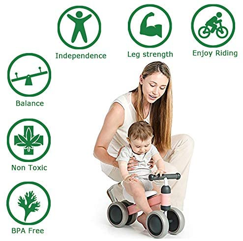 51o4 eWSRnL. AC  - Baby Balance Bikes 10-24 Month Children Walker | Toys for 1 Year Old Boys Girls | No Pedal Infant 4 Wheels Toddler Bicycle | Best First Birthday New Year Holiday