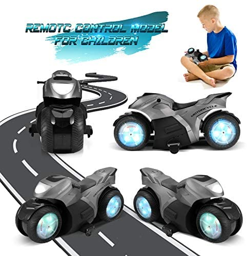 51oNS3YG1BL. AC  - RC Motorcycle Toys, Kids Remote Control Motorcycle Double Sided Flips 360°Rotating Stunt Car for Boys, Gift for Kids/Brithday Gift (Grey)
