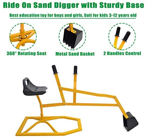 51pJKNNAqJL. AC  - Hand-Mart Kids Ride On Sand Digger, 360° Rotatable Excavator Toy Crane with Base for Sand, Dirt, Snow, Beach, Heavy Duty Steel Digging Toys for Boys Girls, Sandbox Digger for Kids Outdoor