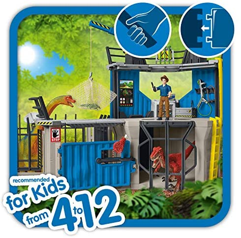 51sPSWnvMZL. AC  - SCHLEICH Toy Dinosaur Research Station 33-Piece Playset for Kids Ages 4-12