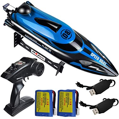 51sTsqdMLkL. AC  - HONGXUNJIE 2.4Ghz High Speed RC Boat-HJ808 18mph Remote Control Racing Boat for Kids and Adults for Lakes and Pools with Double Batteries Double Charger Cables (Blue)