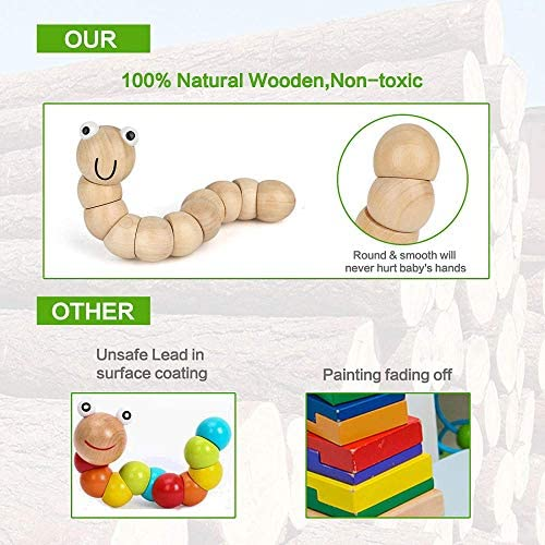 51sfwxi5wJL. AC  - Kids Toddler Musical Instruments, Toddlers 100% Natural Wooden Music Percussion Toy Sets for Childrens Preschool Educational Age3-8 Early Learning, Musical Toys with Bags Boys and Girls