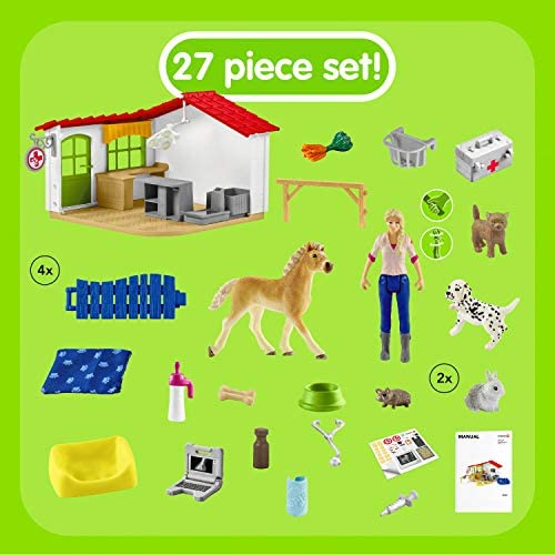 51tJyZVY5XL. AC  - Schleich Farm World 27-piece Vet Practice Playset with Animal Toys for Kids Ages 3-8
