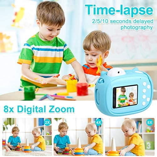 """51ttvyq9eoL. AC  - Instant Camera for Kids Camera for Boys 40MP Digital Camera for Kids Selfie Video Camera with Print Paper, 2.4"""" Screen Toddler Camera Children Toy Camera for Kids 3 4 5 6 7 8-10 12, 32G TF Card, Blue"""
