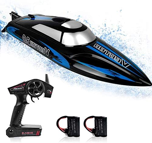 51uLi4mB2TL. AC  - RC Boat, 2.4Ghz Remote Control Boat for Pools and Lakes, 4 Channels Fast Racing Boat with 30+KPH Speed Boat Toys for Kids and Adults (Blue)