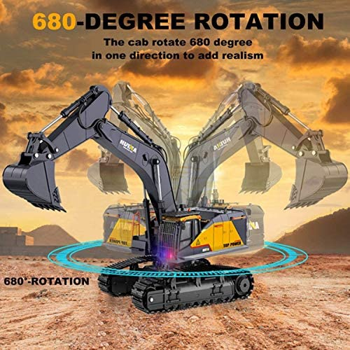 51uyrudxoPL. AC  - Remote Control Excavator Toy 1/14 Scale RC Excavator, 22 Channel Upgrade Full Functional Construction Vehicles Rechargeable RC Truck with Metal Shovel and Lights Sounds