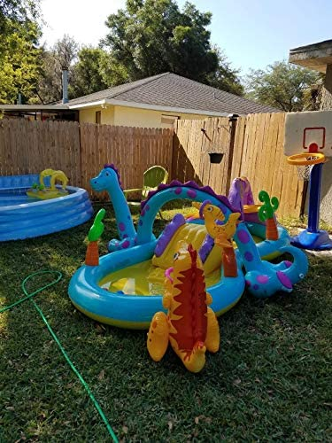 51vAOWGIi+L. AC  - Inflatable Kiddie Pool with Water Slide - 119in X 90in X 44in Dinosaur Inflatable Play Center, Above Ground Pool, Water Slides for Kids Backyard, Kids Pool Outdoor Toys w/ Splash for Ages 2+ Toddler